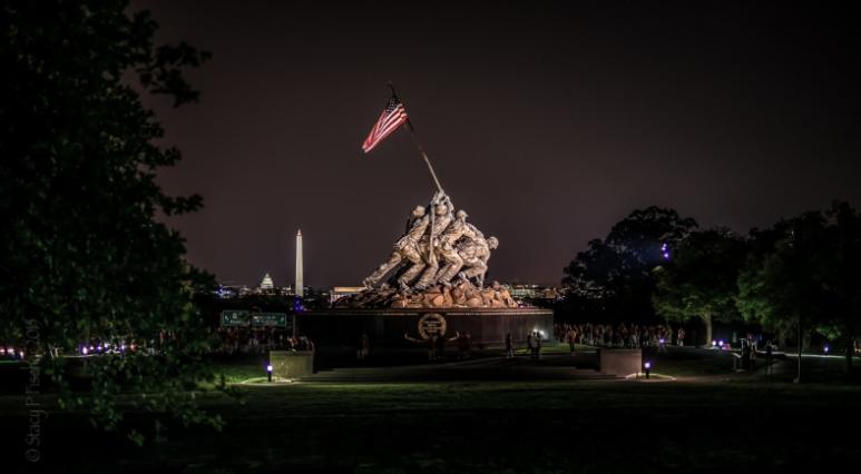 Iwo Jima Memorial at night.